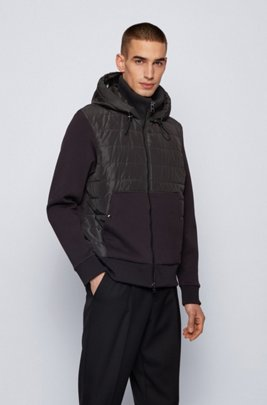 Zip-through hooded sweatshirt with quilted front panel, Black