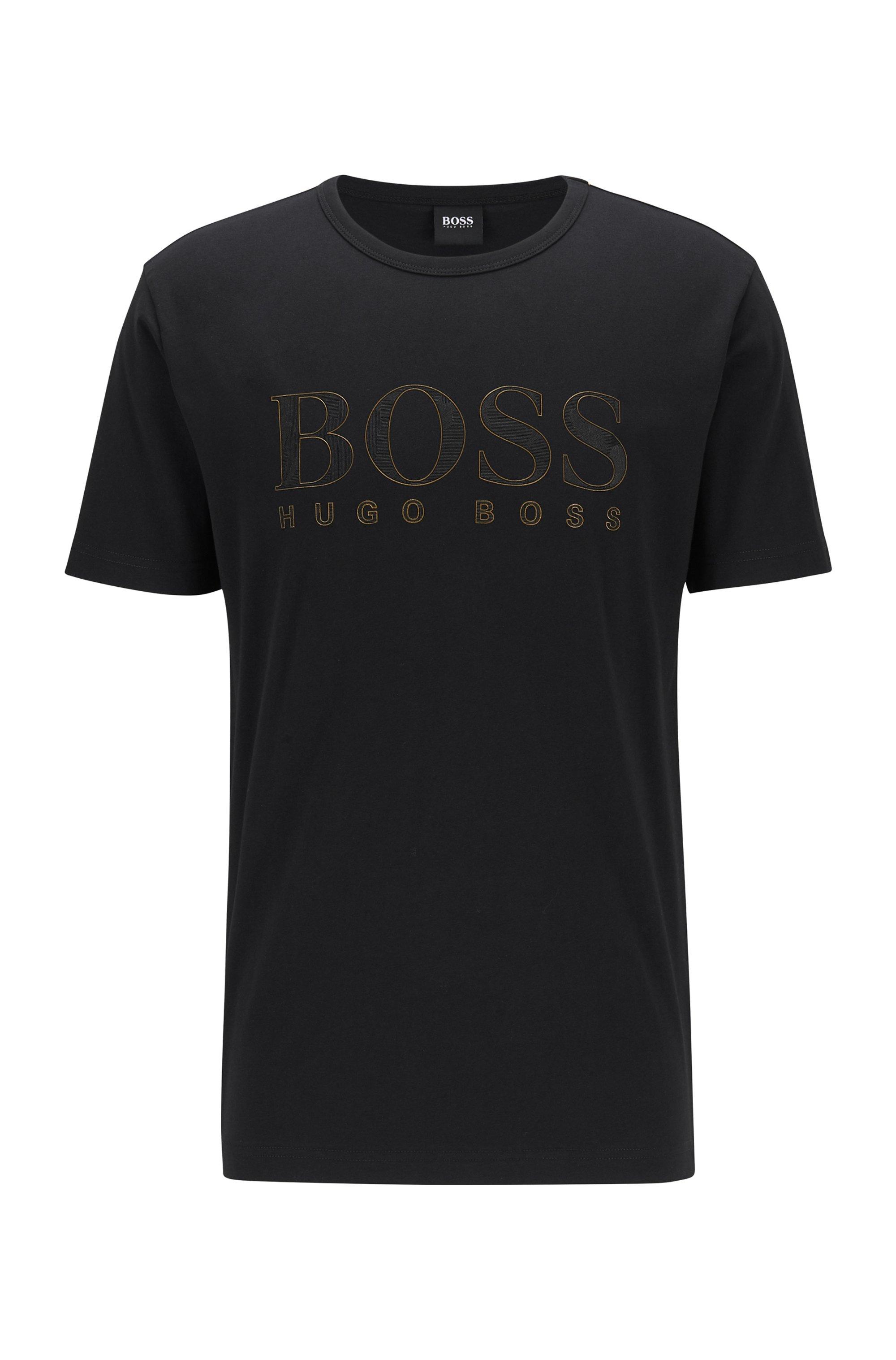 T-shirt Slim Fit en coton à logo effet doré, Noir
