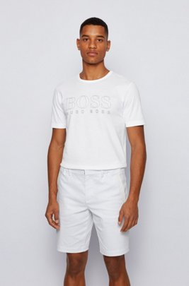 Slim-fit T-shirt in cotton with gold-effect logo, White
