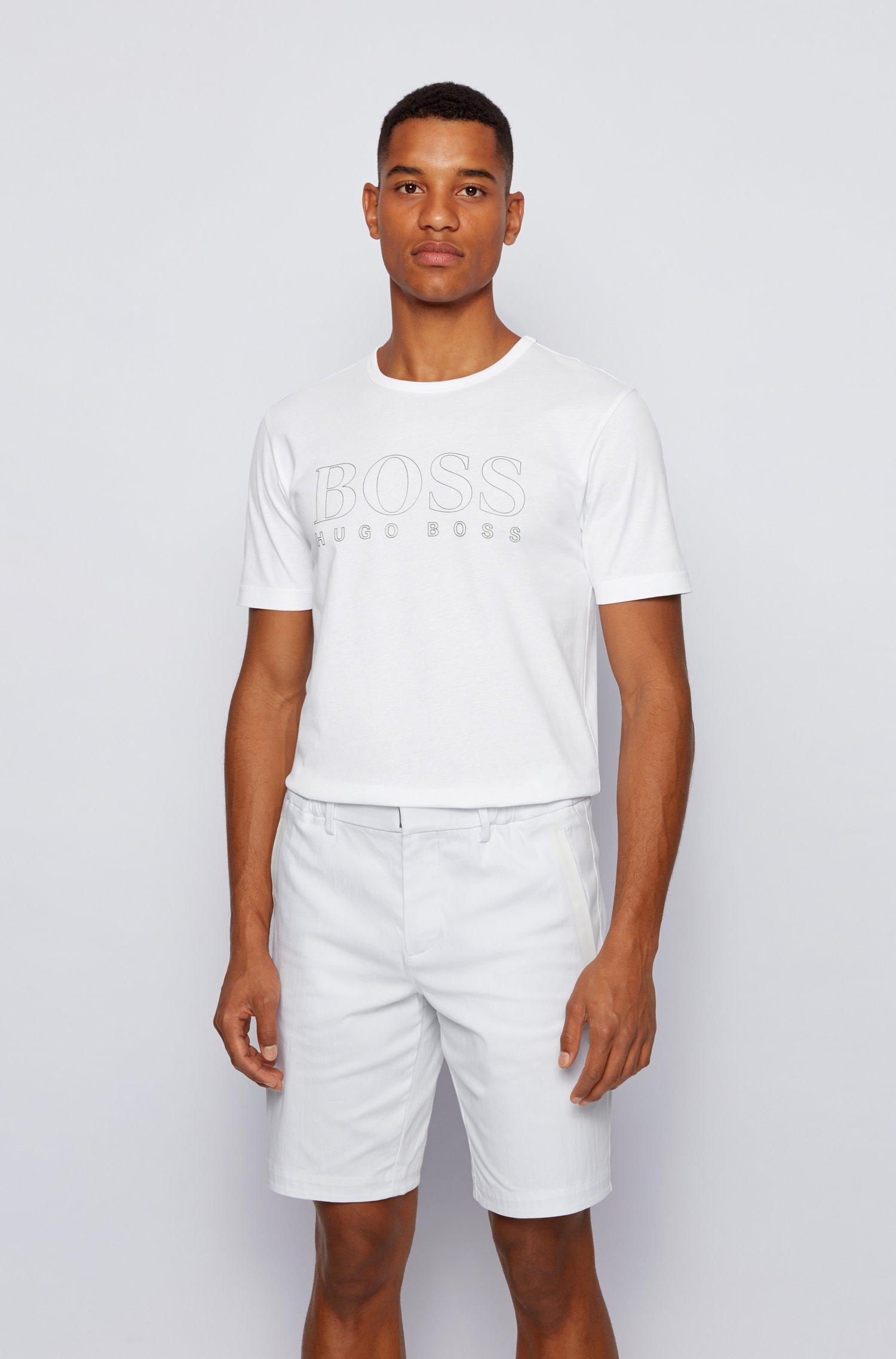 T-shirt Slim Fit en coton à logo effet doré, Blanc
