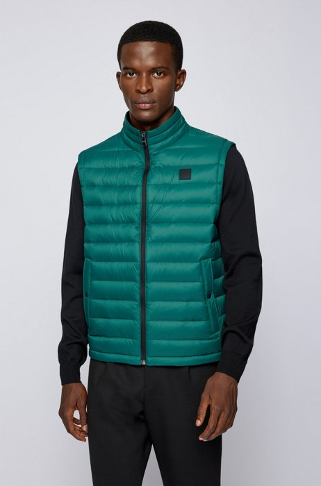 Packable down gilet with water-repellent outer, Dark Green