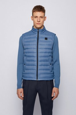 Packable down gilet with water-repellent outer, Light Blue