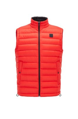 Packable down gilet with water-repellent outer, Red