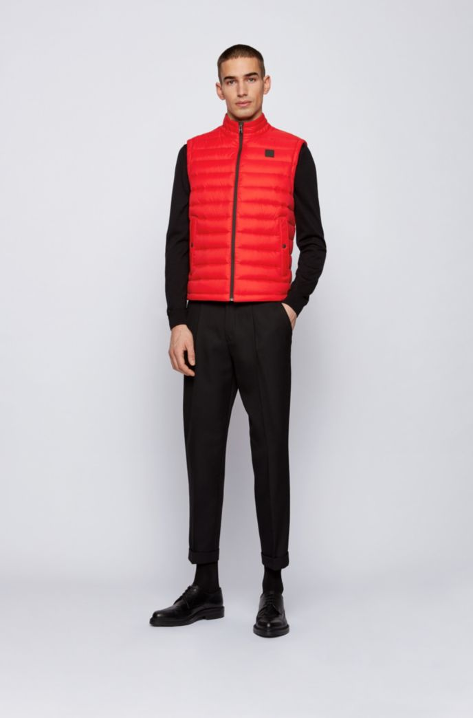 Packable down gilet with water-repellent outer