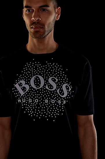 徽标艺术风装饰宽松棉毛 T 恤,  001_黑色