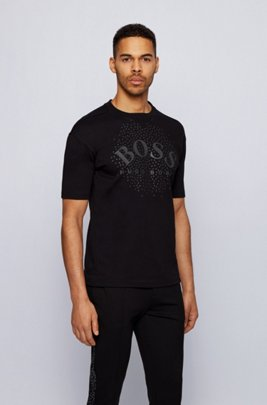 Relaxed-fit T-shirt in interlock cotton with logo artwork, Black