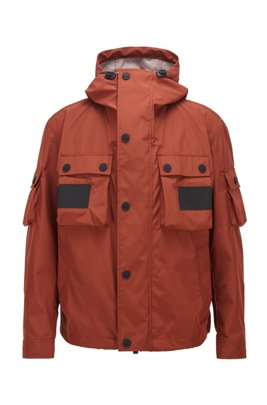 Water-repellent jacket in three-layer woven fabric, Brown