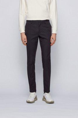 Slim-Fit Chino aus zweifarbiger Stretch-Baumwolle mit dezentem Muster, Schwarz