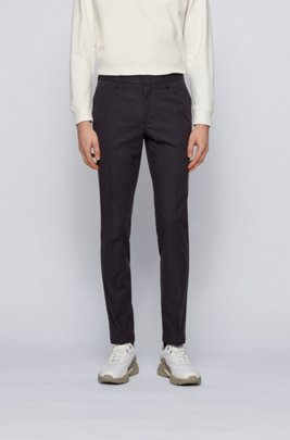 Micro-patterned slim-fit chinos in bicoloured stretch cotton, Black