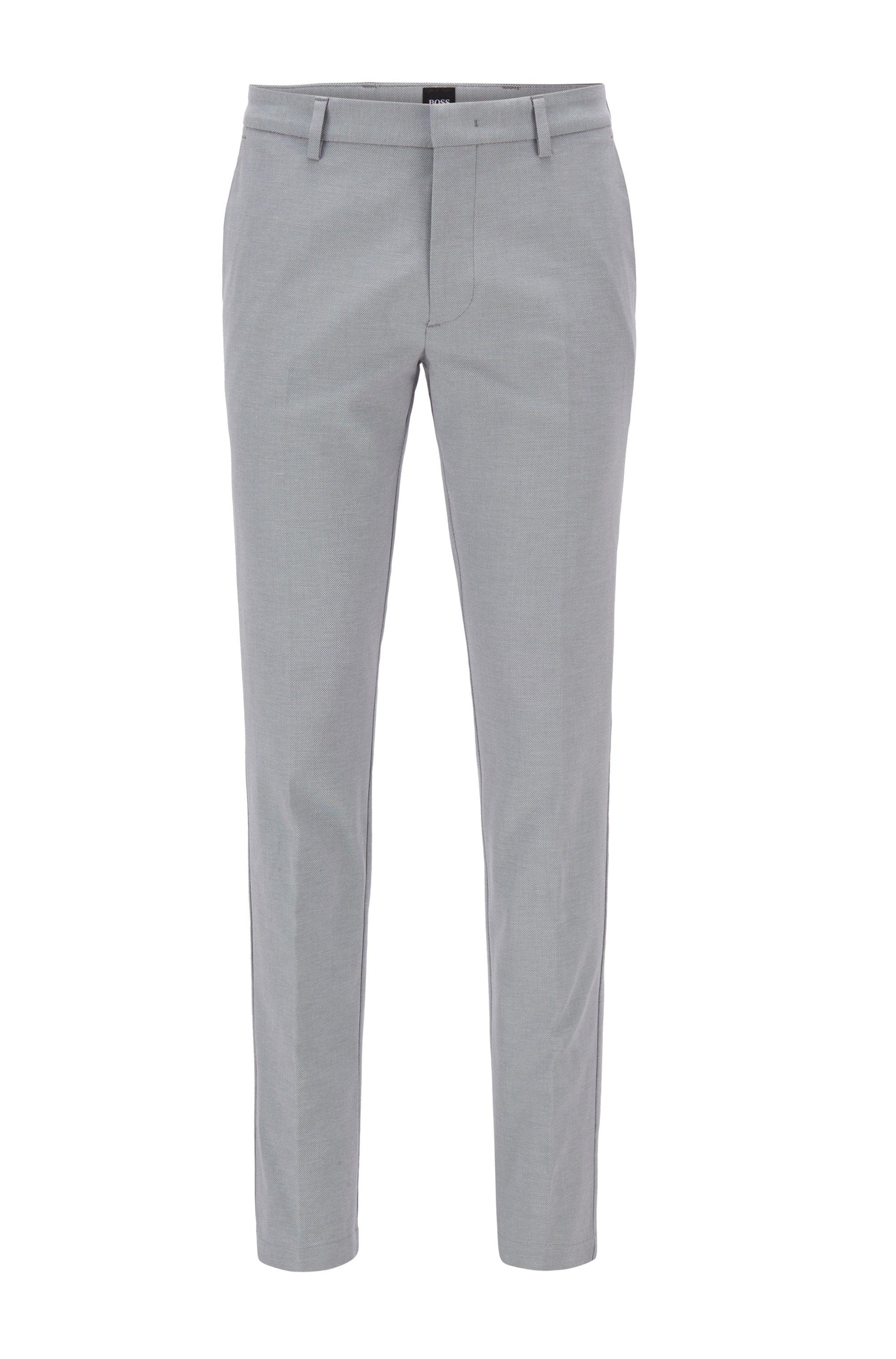 Slim-Fit Chino aus zweifarbiger Stretch-Baumwolle mit dezentem Muster, Hellgrau