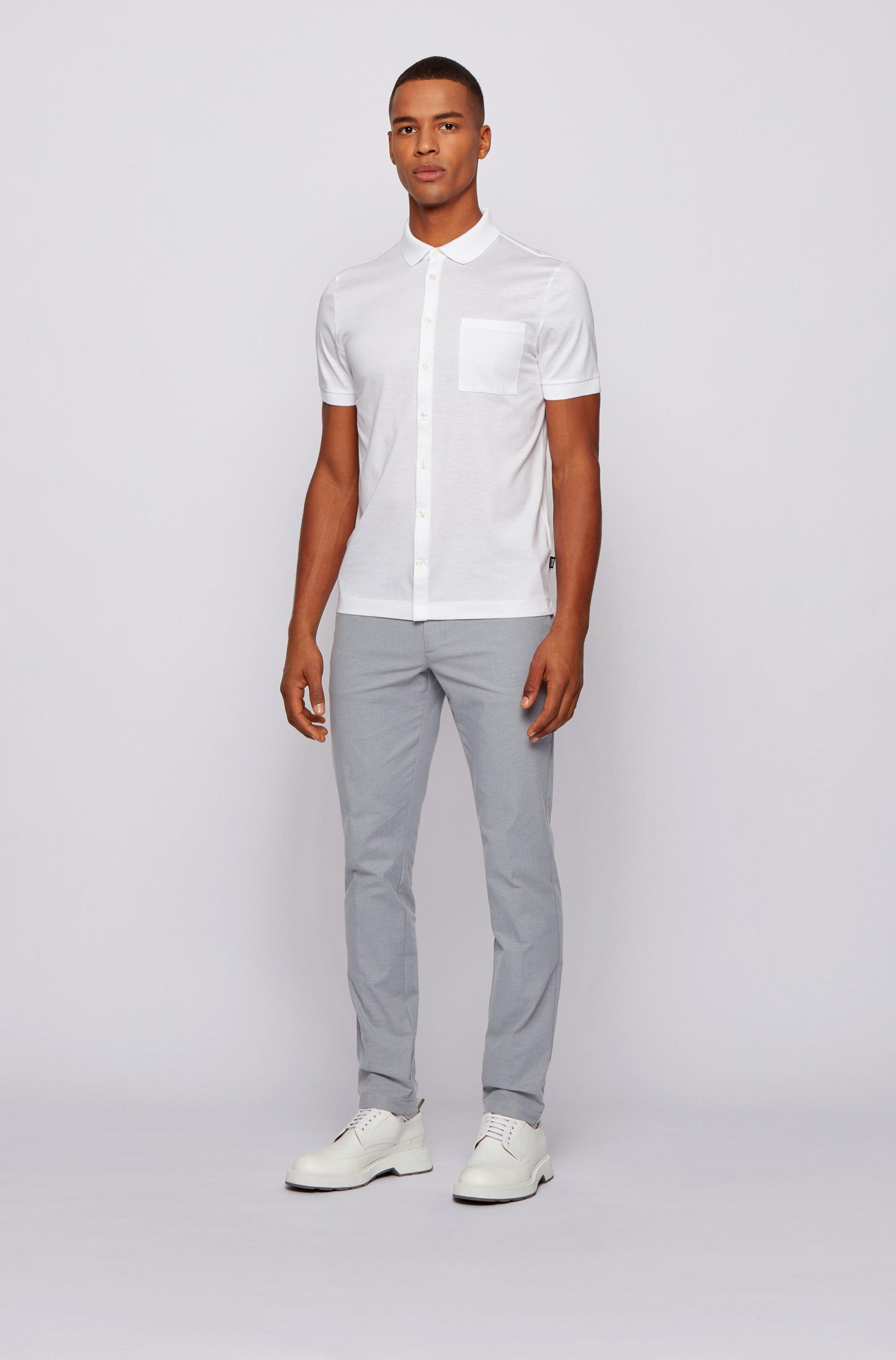 Slim-Fit Chino aus zweifarbiger Stretch-Baumwolle mit dezentem Muster