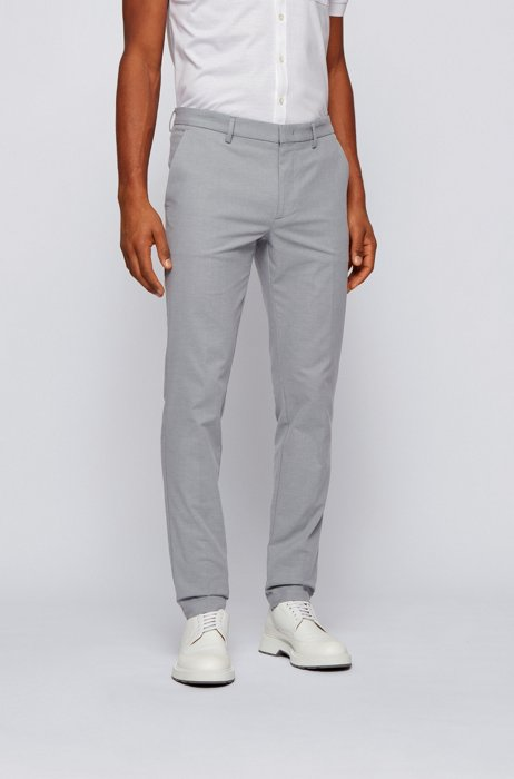 Micro-patterned slim-fit chinos in bicoloured stretch cotton, Light Grey