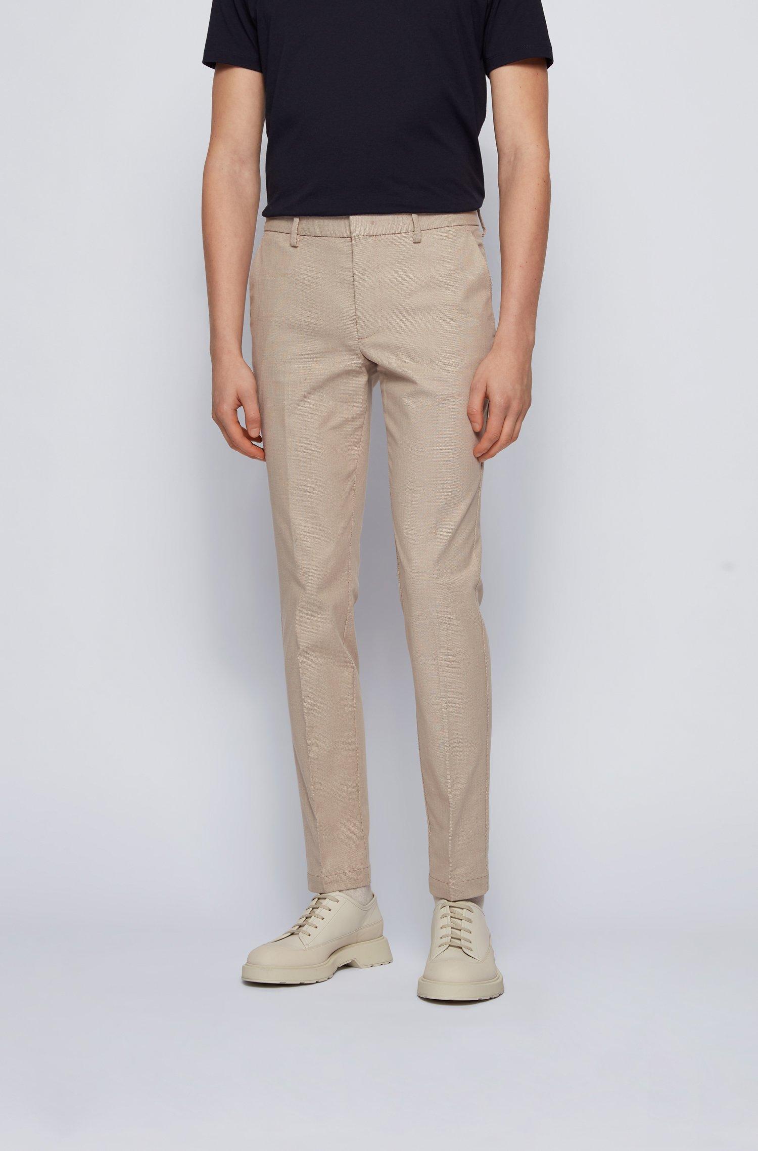Slim-Fit Chino aus zweifarbiger Stretch-Baumwolle mit dezentem Muster, Beige