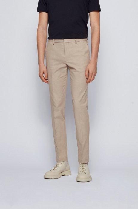 Micro-patterned slim-fit chinos in bicoloured stretch cotton, Beige