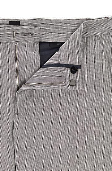 饰以微型图案的双色弹力棉修身版休闲裤,  402_暗蓝色