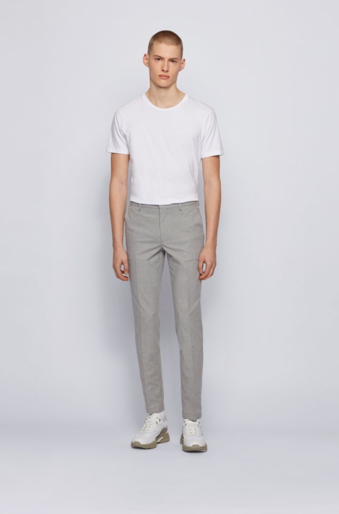 Micro-patterned slim-fit chinos in bicoloured stretch cotton