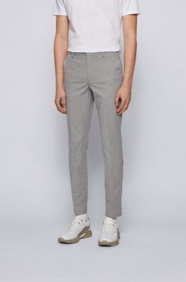 Micro-patterned slim-fit chinos in bicoloured stretch cotton, Grey