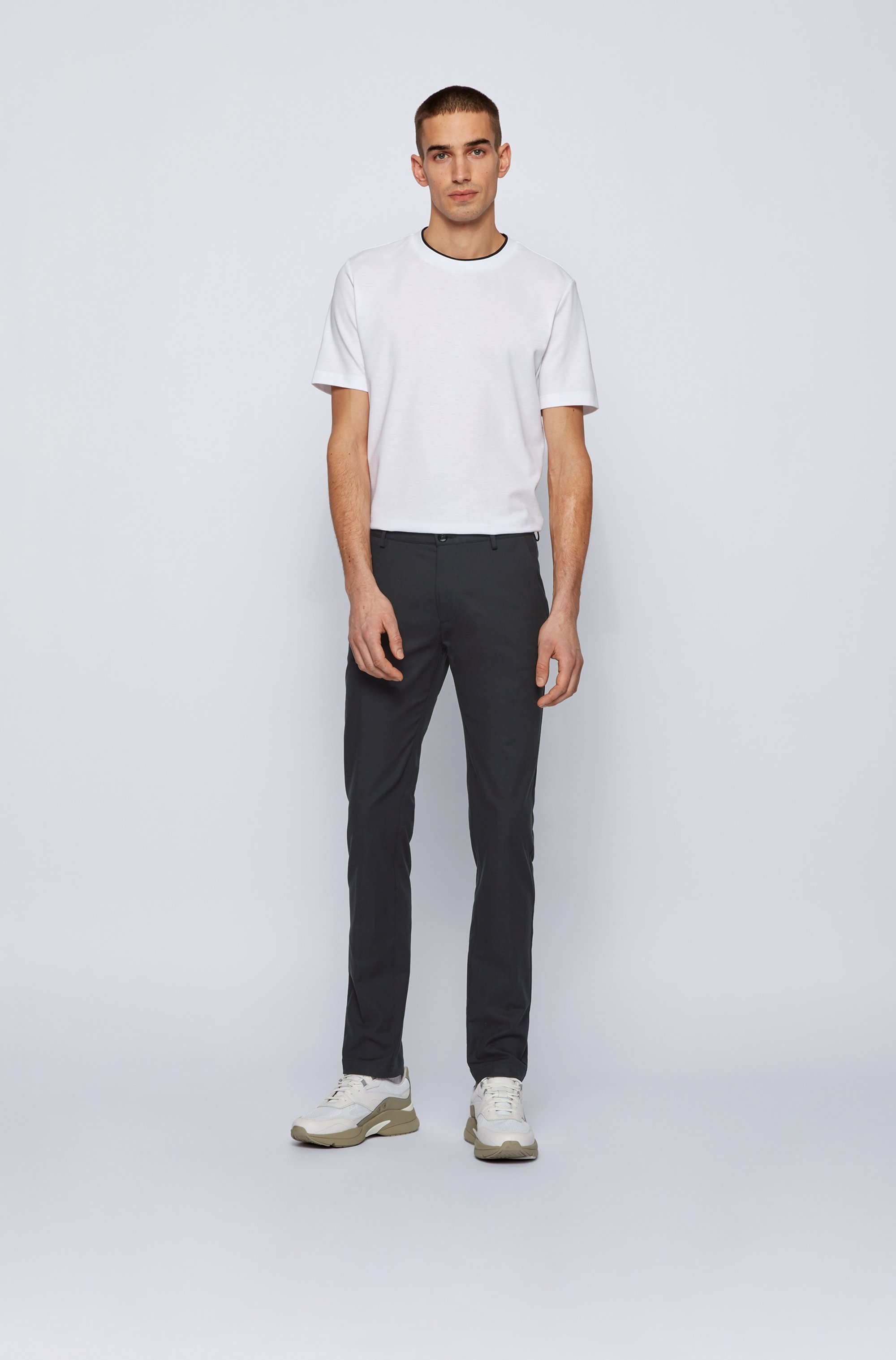 Slim-fit chinos in micro-patterned stretch cotton