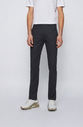 Slim-fit chinos in micro-patterned stretch cotton, Black