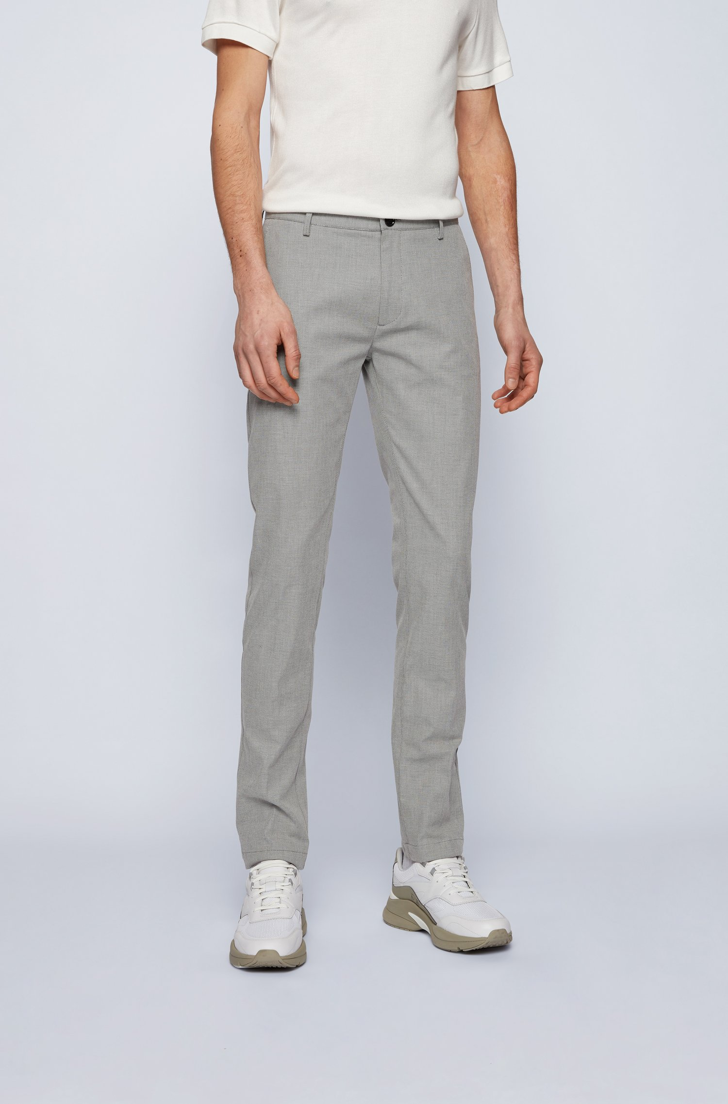 Slim-fit chinos in micro-patterned stretch cotton, Grey Patterned