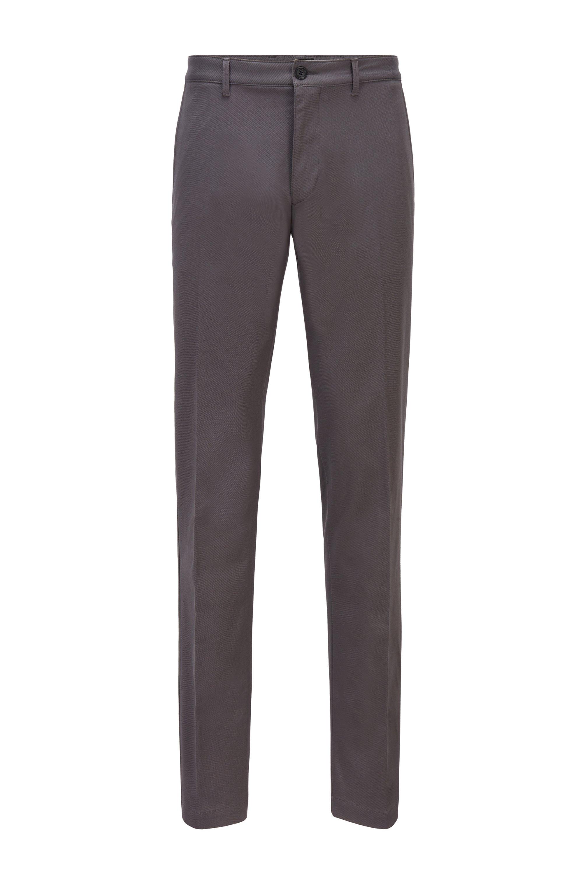 Regular-fit chinos in stretch-cotton dobby, Grey