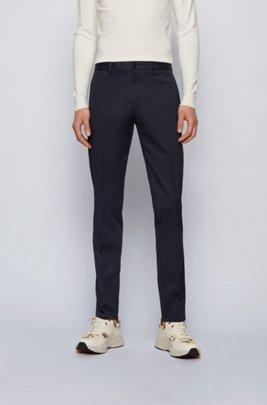 Regular-fit chinos in stretch-cotton dobby, Dark Blue