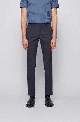 Slim-fit chinos in stretch-cotton dobby, Dark Blue