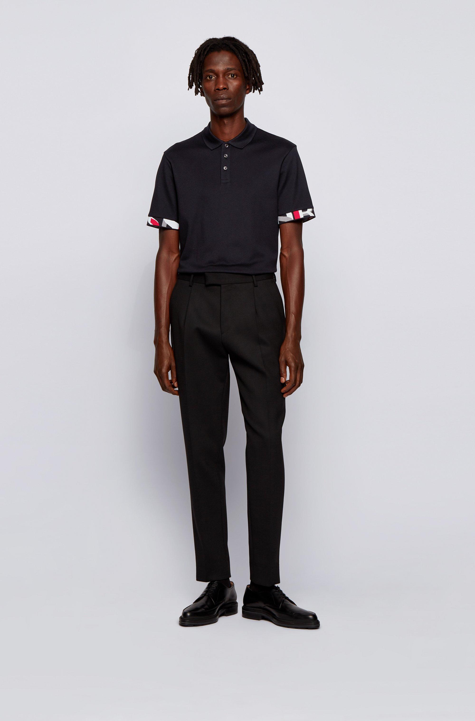 Regular-Fit Poloshirt mit gemusterten Ärmelbündchen