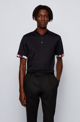 Regular-fit polo shirt with patterned cuffs, Black