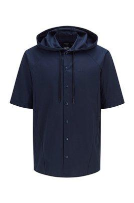 Surchemise à capuche Regular Fit en coton stretch, Bleu foncé
