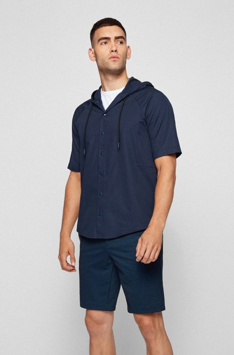 Hooded regular-fit overshirt in stretch cotton, Dark Blue