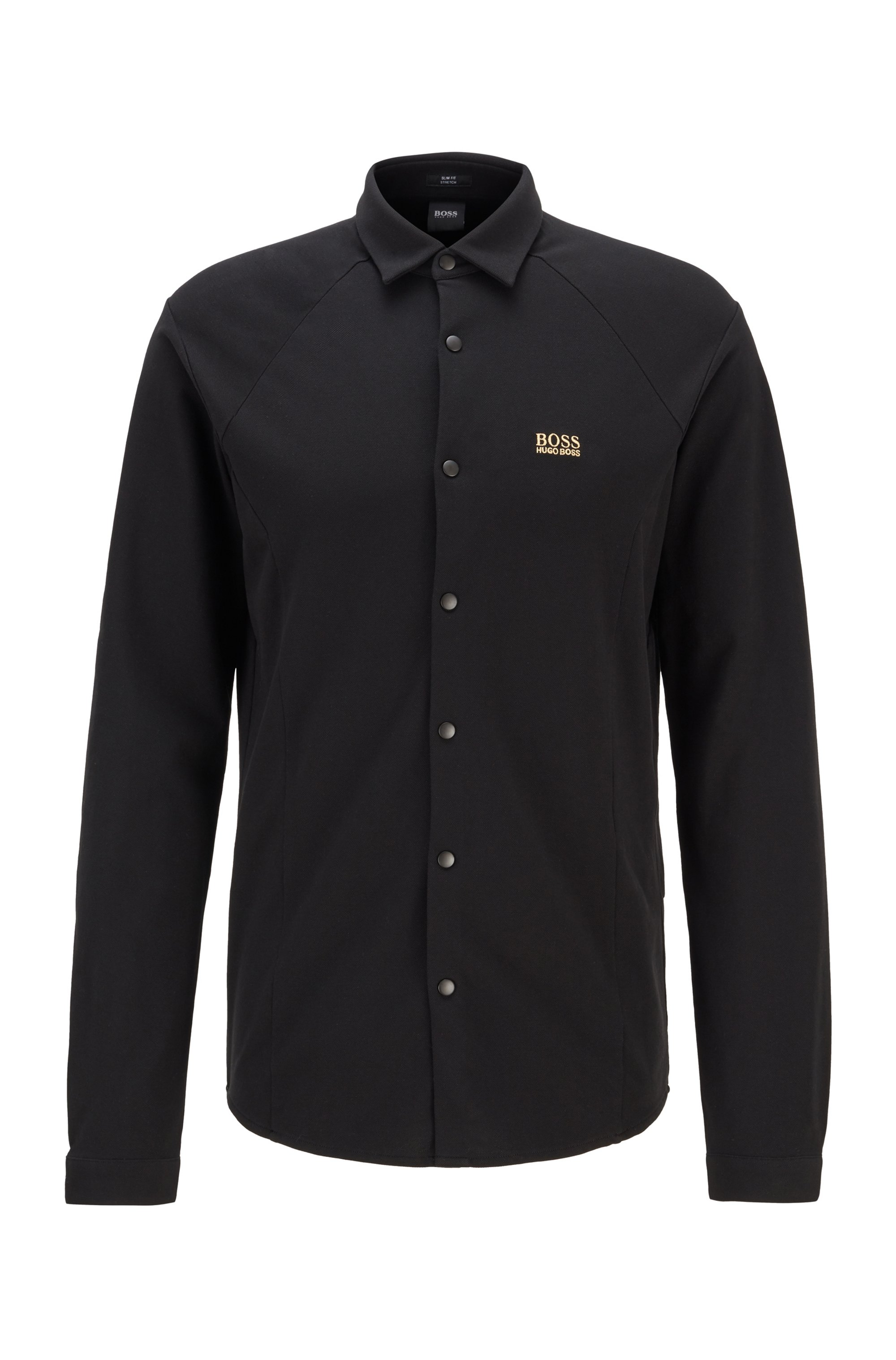 Chemise Slim Fit en jersey de coton stretch, Noir