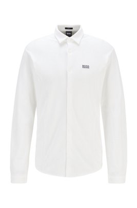 Slim-fit shirt in stretch-cotton jersey, White