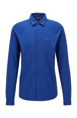 Slim-Fit Hemd aus elastischem Baumwoll-Jersey, Blau