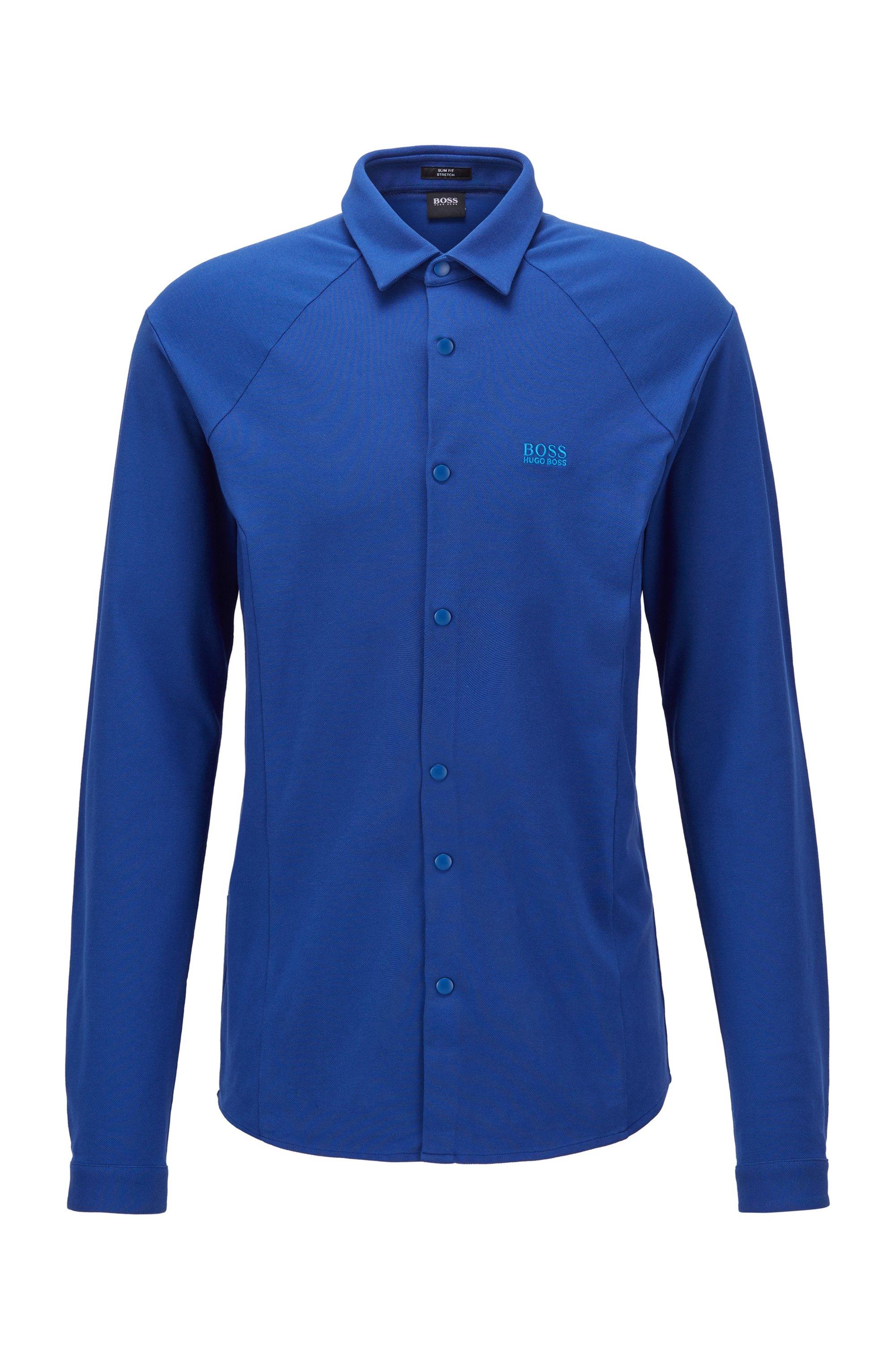 Chemise Slim Fit en jersey de coton stretch, Bleu