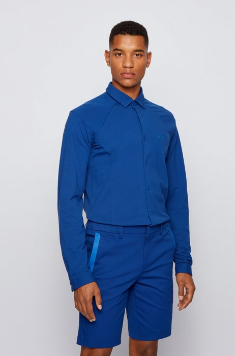 Slim-fit shirt in stretch-cotton jersey, Blue