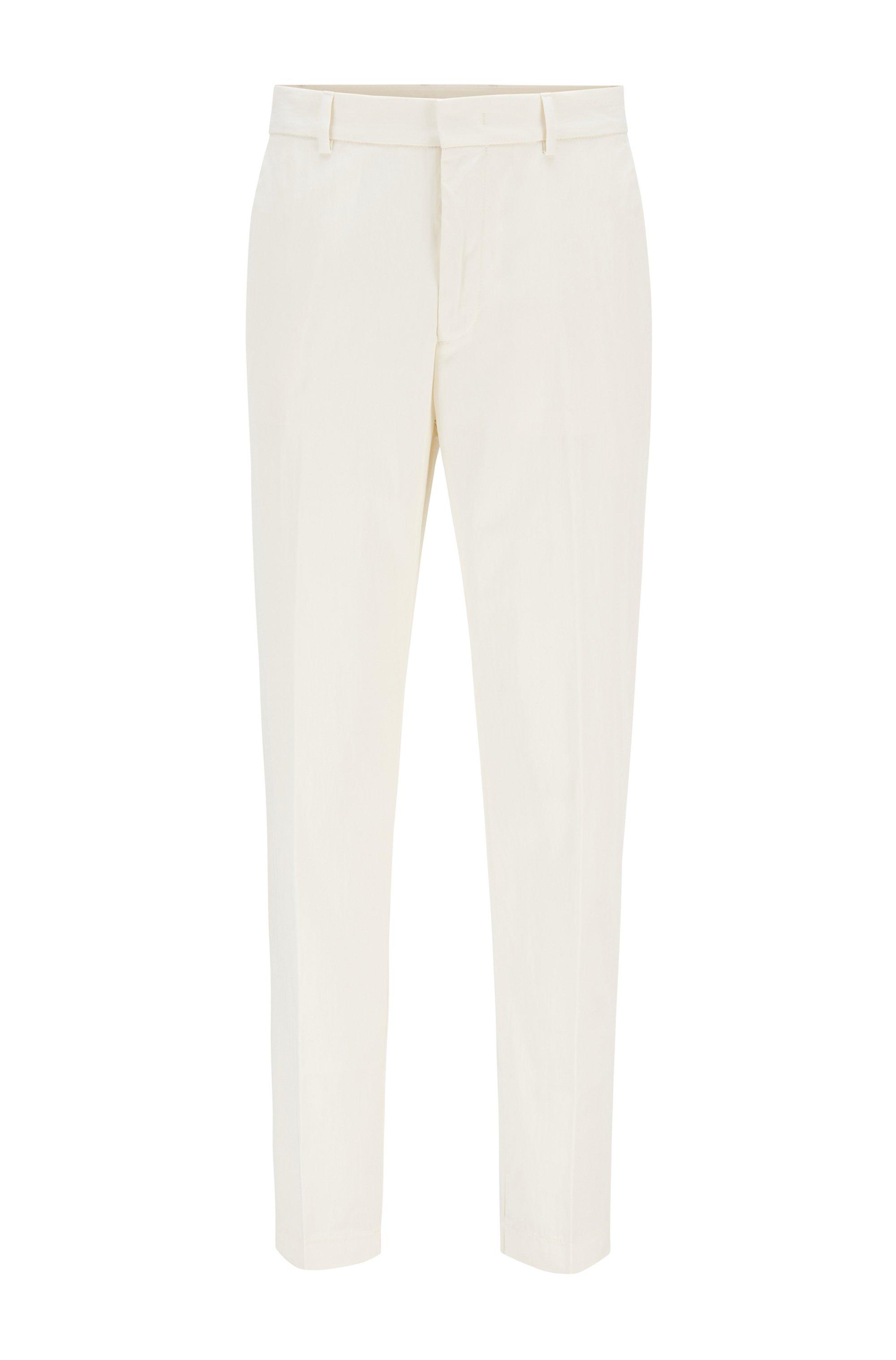 Pantalon Tapered Fit en coton mélangé effet froissé, Blanc