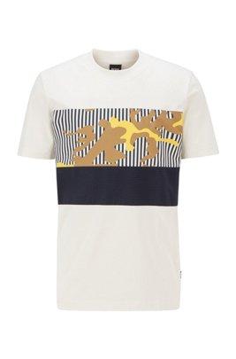 T-shirt en jersey de coton avec motif artistique de la nouvelle saison, Blanc à motif