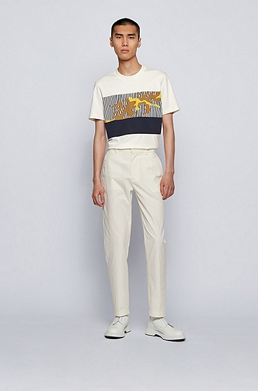 新季艺术图案装饰平纹针织棉 T 恤,  118_淡白色