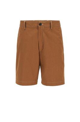 Regular-fit shorts in paper-touch cotton poplin, Beige