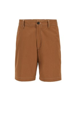 Regular-fit shorts in paper-touch cotton poplin, Beige