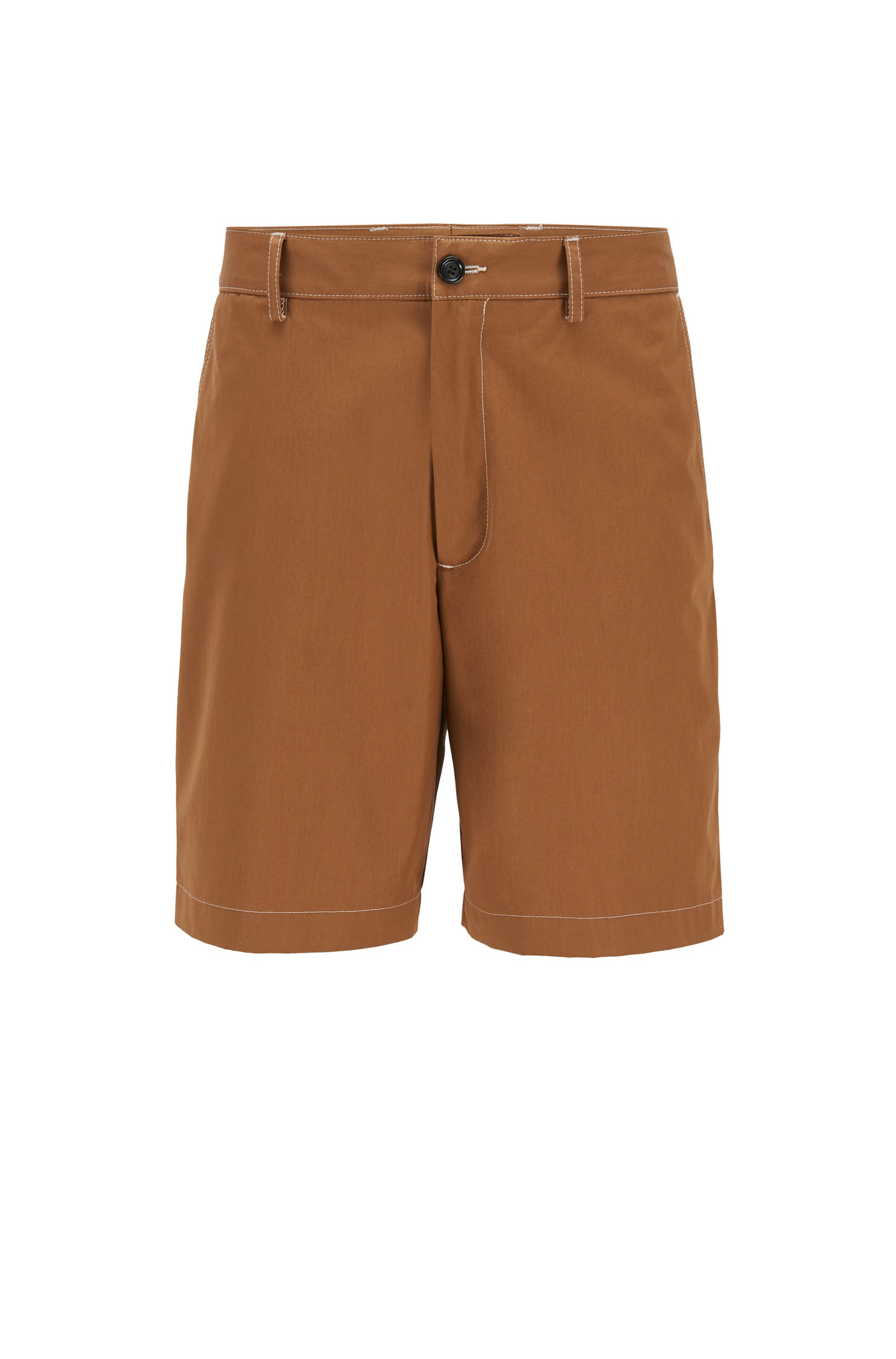 Short Regular Fit en popeline de coton lisse, Beige