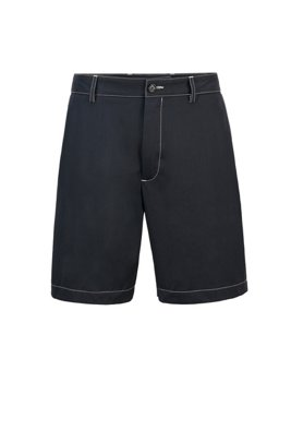 Regular-fit shorts in paper-touch cotton poplin, Dark Blue