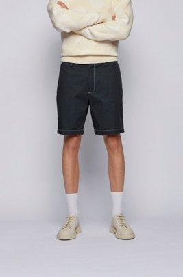 Regular-Fit Shorts aus Baumwoll-Popeline mit Paper-Touch-Effekt, Dunkelblau