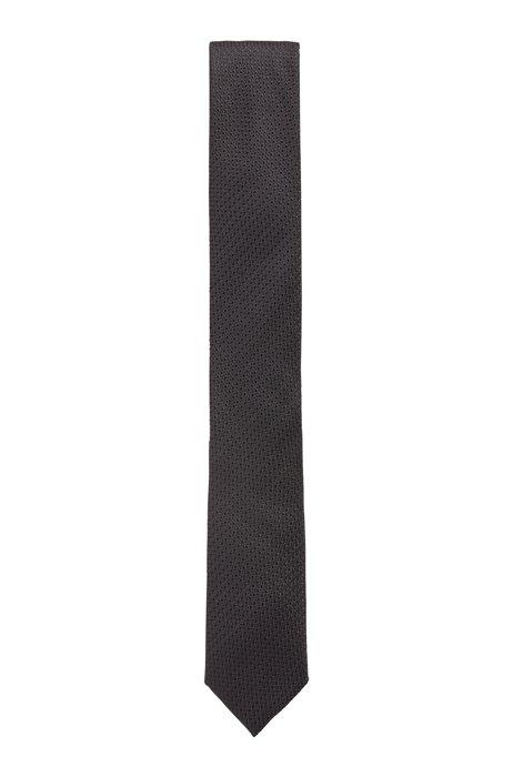 Cravate en soie mélangée à motif jacquard, Noir