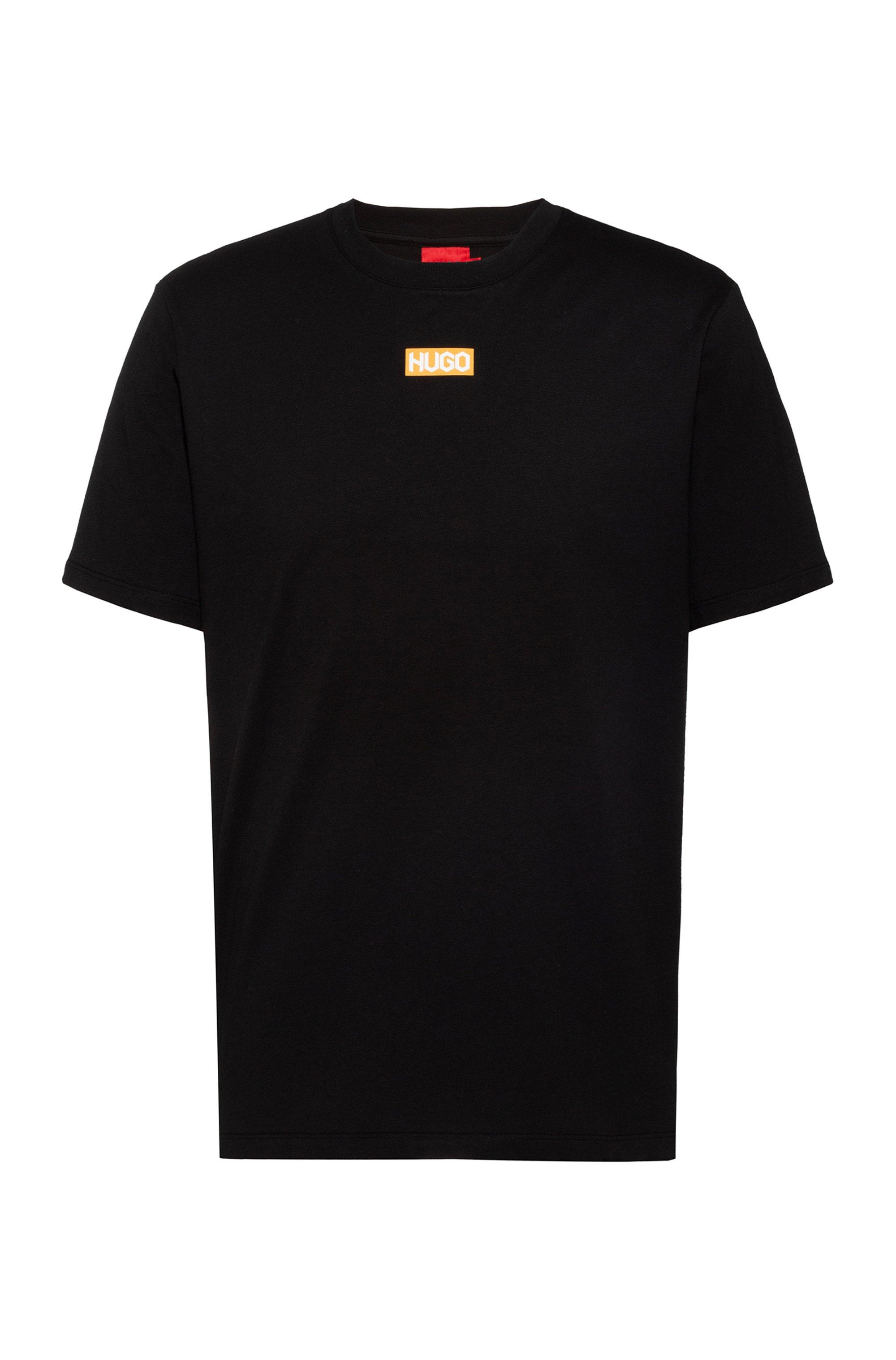 Regular-fit T-shirt van biologische katoen met logo middenvoor, Zwart