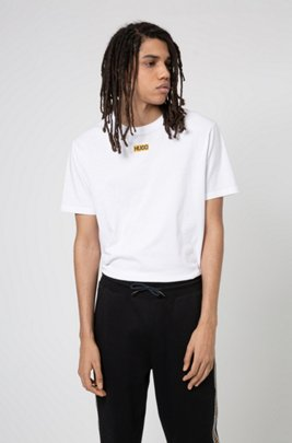 Regular-fit T-shirt in organic cotton with centred logo, White