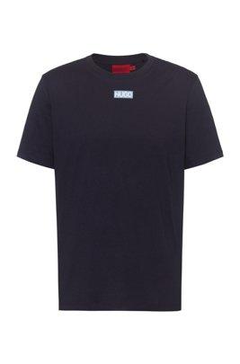 T-Shirt aus Bio-Baumwolle mit mittigem Logo, Dunkelblau