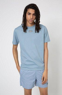 T-Shirt aus Bio-Baumwolle mit mittigem Logo, Blau