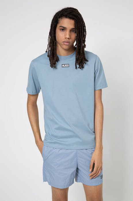 Regular-fit T-shirt in organic cotton with centred logo, Blue